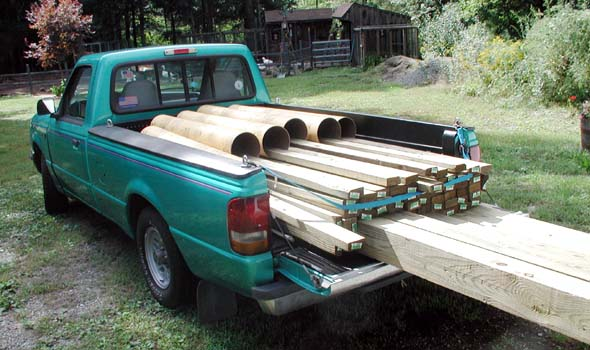 18 September 2005: One Of Several Pickup Truck Loads Of Materials. All  Framing Materials For This Observatory Will Be Pressure Treated.